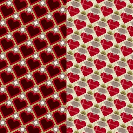 Set of geometric seamless pattern backgrounds of hearts and diamonds