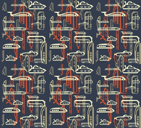 Seamless pattern of traffic  Means of transportation  bus, plane, ship, train, submarine  Vectores