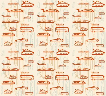 means of transportation: Seamless pattern of traffic  Means of transportation  bus, plane, ship, train, submarine  Illustration