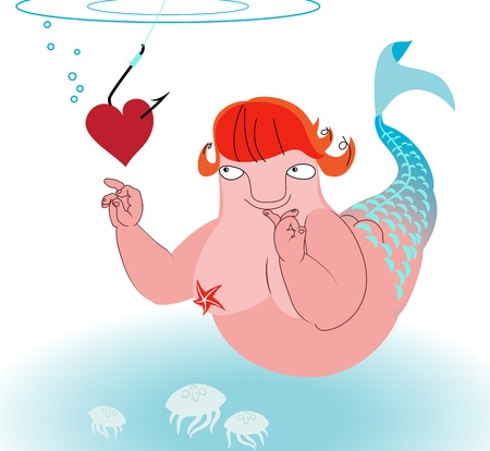 Romantic cartoon mermaid taking bait heart on a hook Illustration