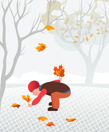 Little child collecting fallen leaves. Illustartion of calmness and family  Stock Vector - 20057677