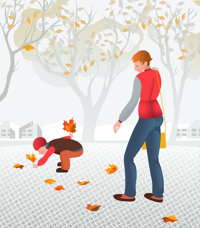 Young mother walking with her child collecting fallen leaves. Illustartion of calmness and family Stock Vector - 20057750
