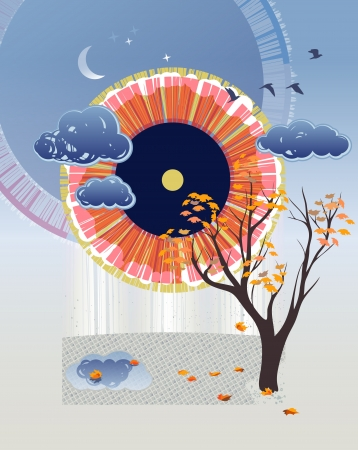 modes: Abstract autumn background. EPS 10 vector. Transparency, blending modes used.