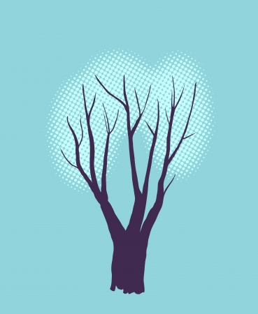 Stylized single tree silhouette on color textured background