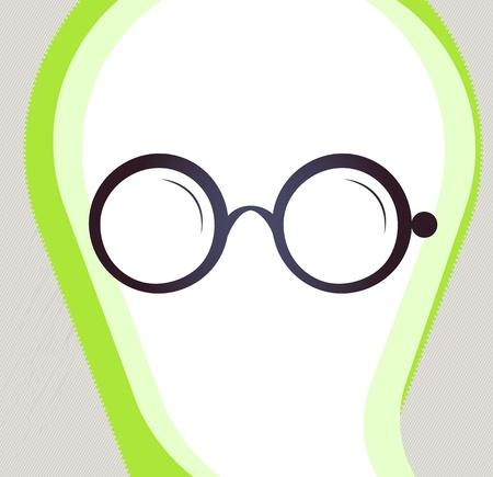 bifocals: Glasses  Retro-style emblem, icon, pictogram