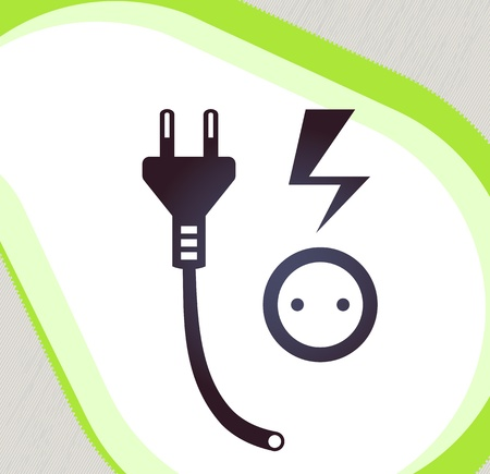 Plug and socket  Retro-style emblem, icon, pictogram