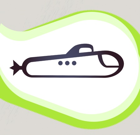 Submarine  Retro-style emblem, icon, pictogram   Vector