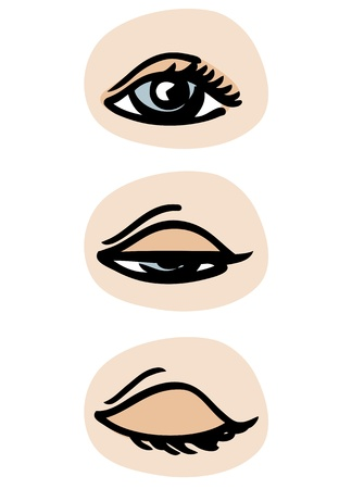 blinking: Three phases of a blinking eye.