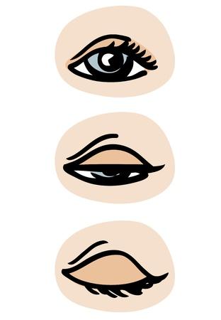 blinking: Tres fases de un parpadeo de los ojos.