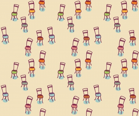 Chairs. Hand-drawn graphic elements, seamless pattern