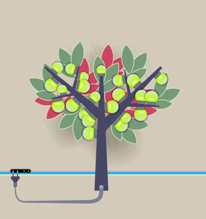 Artificial tree with electric bulbs. Green energy ecology concept Illustration