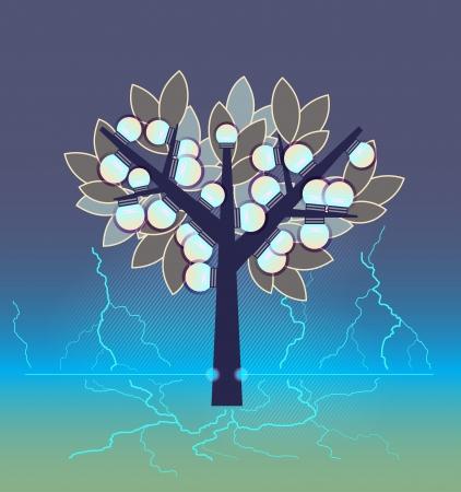 Artificial electrical tree. Green energy ecology concept.  Vector