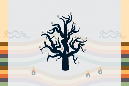 waterless: Burning tree in a desert. Abstract background landscape. Illustration