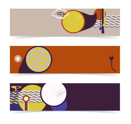 Set of horizontal banners, headers  Editable design, transparencies used  Illustration