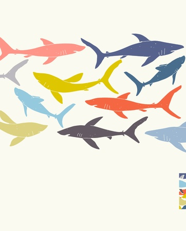 Template poster design with hand-drawn sharks silhouettes, transparencies used.