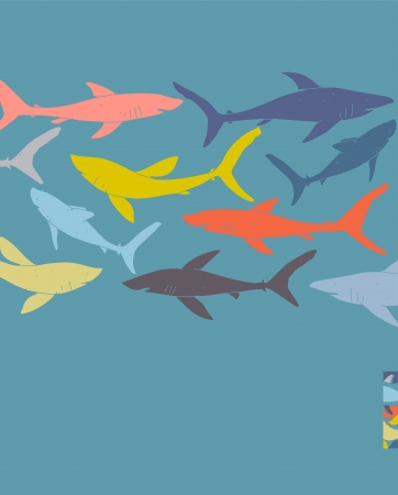 Template poster design with hand-drawn sharks silhouettes. transparencies used.