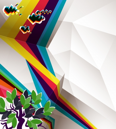 Abstract geometry background with grunge and retro elements, transparencies used Illustration