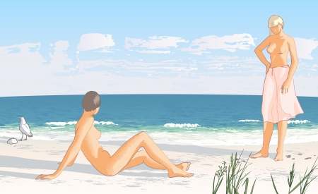 nude female: Young women on a sand beach by the sea illustration