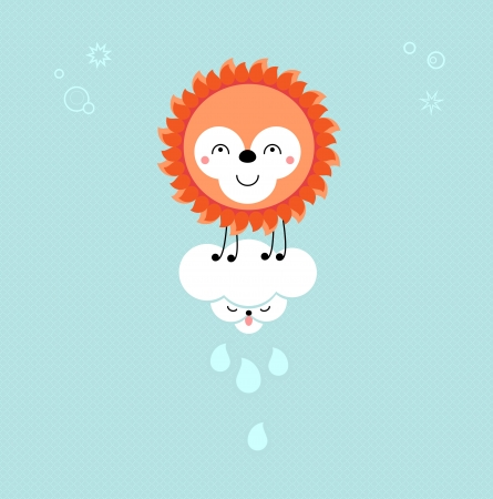 Sun and Cloud in the sky. Cute kawaii animalistic cartoon characters.
