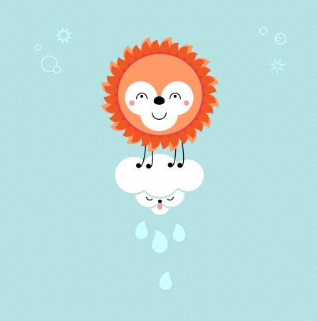 animalistic: Sun and Cloud in the sky. Cute kawaii animalistic cartoon characters.