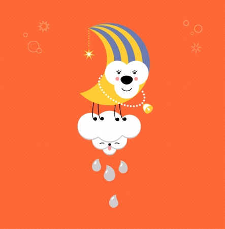 Moon and Cloud in the sky. Cute kawaii animalistic cartoon characters. EPS 10 vector Vettoriali