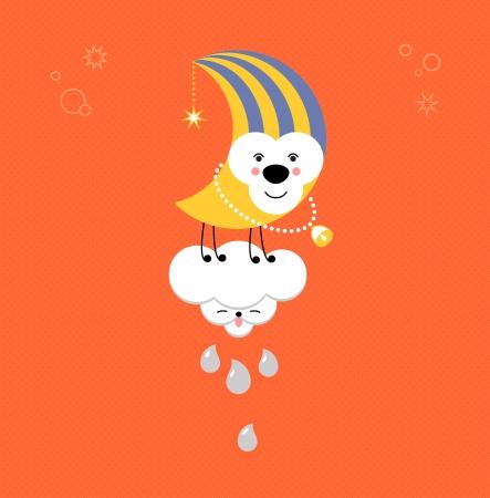 Moon and Cloud in the sky. Cute kawaii animalistic cartoon characters. EPS 10 vector Illustration