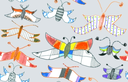 Seamless pattern of butterflies and moths. Hand-drawn style illustration. EPS 10 vector. Vector