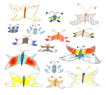 Set of hand-drawn butterflies and moths Vector