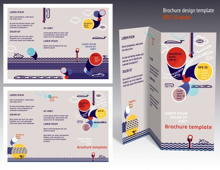 Brochure, booklet z-fold 2-sides layout. Editable design template. EPS10 vector, transparencies used. 向量圖像