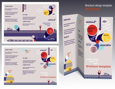 Brochure, booklet z-fold 2-sides layout. Editable design template. EPS10 vector, transparencies used. Ilustração