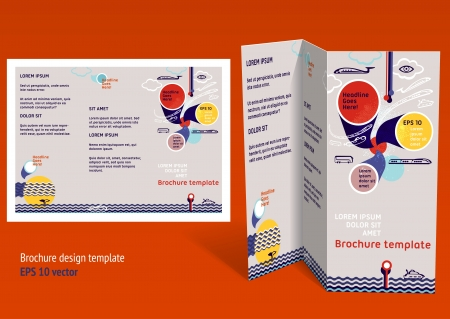 Brochure, booklet z-fold layout. Editable design template. EPS10 vector, transparencies used. Vector