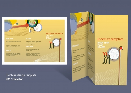 z fold: Brochure, booklet z-fold layout. Editable design template. EPS10 vector, transparencies used.