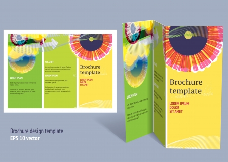 design: Brochure, booklet z-fold layout. Editable design template. EPS10 vector, transparencies used.