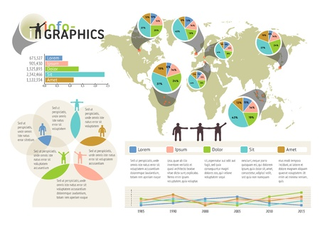 Set of infographic elements. Visual statistic information on world map. EPS 10 vector, transparencies used. The map image is derived from the materials of the University of Texas Libraries, The University of Texas at Austin. Source: http:www.lib.utexas. Vector
