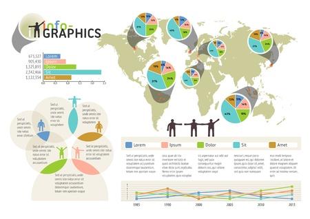 Set van infographic elementen. Visuele statistiek informatie op wereldkaart. EPS-10 vector, transparanten gebruikt. De image map is afgeleid van de materialen van de University of Texas Libraries, de Universiteit van Texas in Austin. Bron: http://www.lib.utexas.