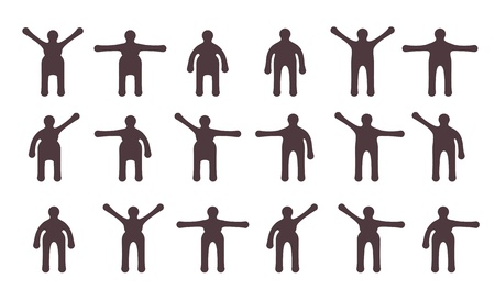 bodily: People minimalistic icons set. Symbols of standing bodily movements Illustration