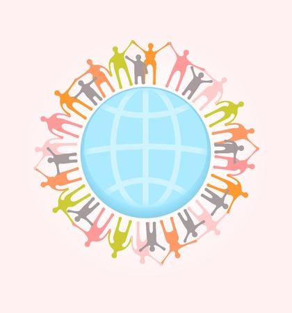 Mensen over de hele wereld hand in hand. Unity concept illustratie. EPS-10 vector, transparanten gebruikt. Stock Illustratie