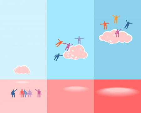 People and clouds. Success concept illustration. EPS 10 vector
