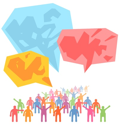 Crowd of people expressing special idea with speech bubble Illustration