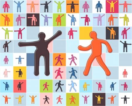 People minimalistic icons set. Men, women, children standing and walking.  Illustration