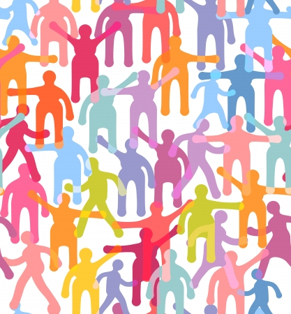 People seamless pattern. Crowd colorful illustration.
