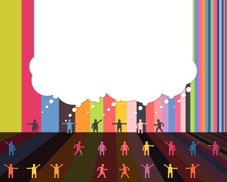 People icons talking bubble cloud communication design template.