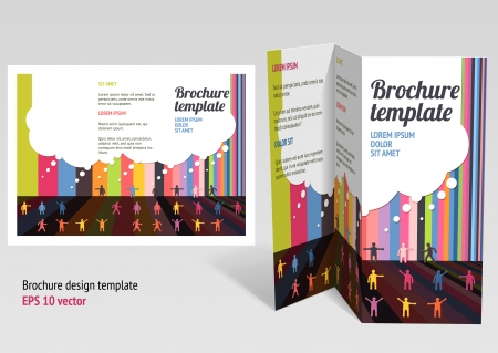 Brochure, booklet z-fold layout.  Vector