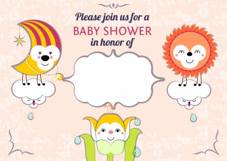 Baby shower invitation card editable template  Illustration