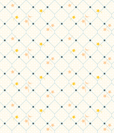 Geometric seamless vintage pattern with floral elements