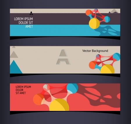 Set of horizontal banners, headers.  Illustration