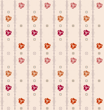 Geometric seamless vintage pattern background with floral elements