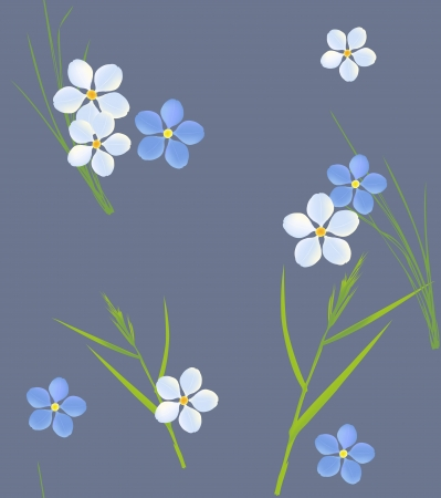 grass blades: Seamless retro pattern of small flowers and grass blades
