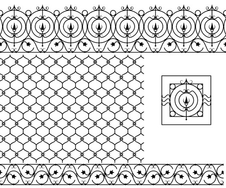 Seamless patterns set for wrought iron railing, grating, lattice, gates, fence. Black silhouette Vector