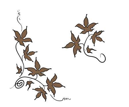 Floral ornament elements of leaves in hand drawn style Illustration